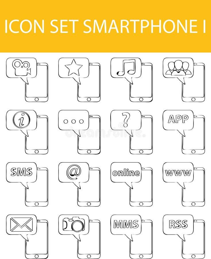 Συρμένο ευθυγραμμισμένο Doodle εικονίδιο καθορισμένο Smartphone Ι διανυσματική απεικόνιση
