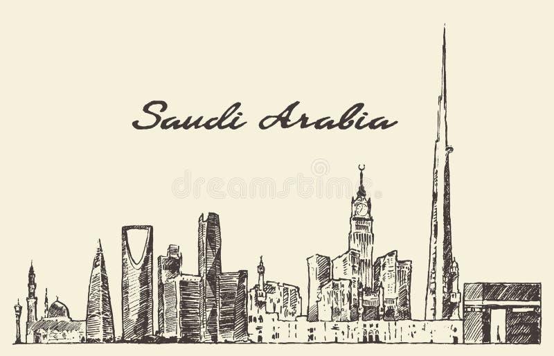 Συρμένο διάνυσμα σκίτσο της Σαουδικής Αραβίας οριζόντων ελεύθερη απεικόνιση δικαιώματος