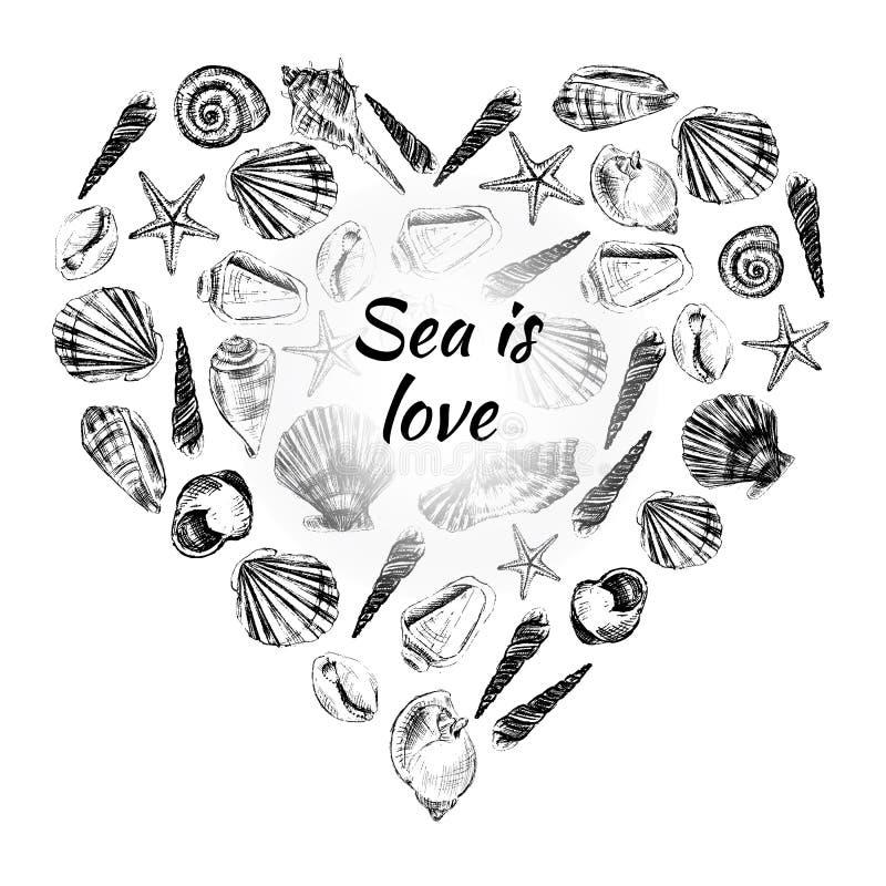 Συρμένο διανυσματικό σκίτσο χαρακτικής καρδιών θαλασσινών κοχυλιών χέρι που απομονώνεται στο άσπρο υπόβαθρο, διακοσμητικό πλαίσιο διανυσματική απεικόνιση