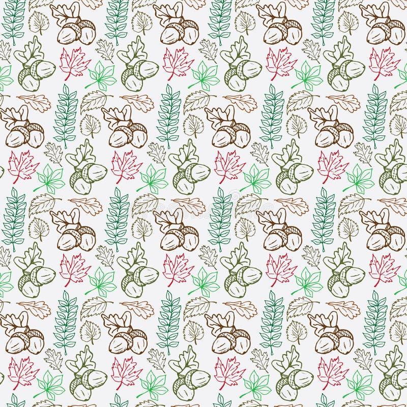 Συρμένο διανυσματικό χέρι άνευ ραφής σχέδιο εποχής φθινοπώρου doodle συλλογή φύλλων ελεύθερη απεικόνιση δικαιώματος