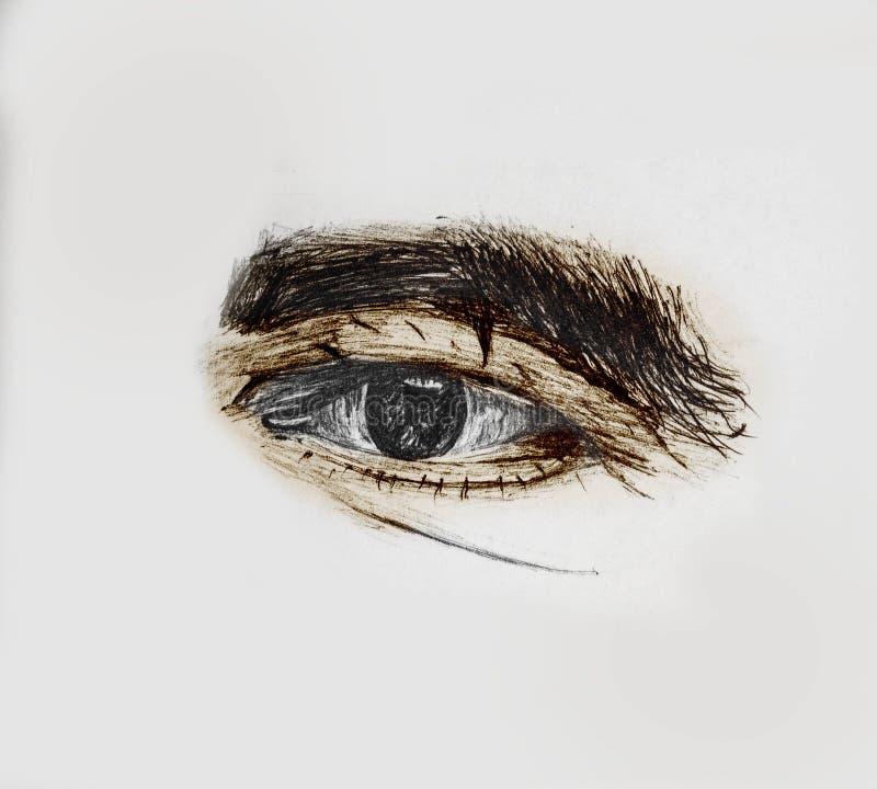 Συρμένο και χρωματισμένο ανθρώπινο μάτι ενός ηληκιωμένου με τα παχιά φρύδια - σκίτσο μολυβιών και χρωματισμός με το χέρι απεικόνιση αποθεμάτων
