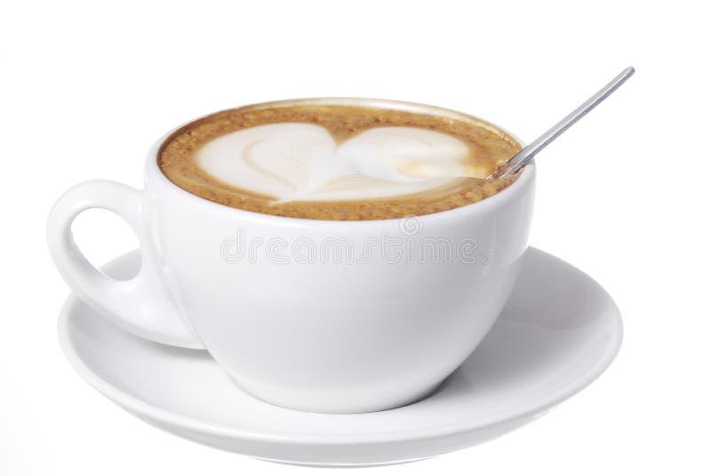συρμένο κουτάλι καρδιών latte στοκ φωτογραφία