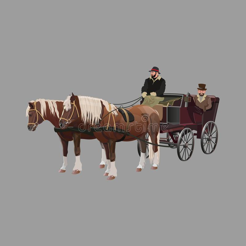συρμένο μεταφορά άλογο διανυσματική απεικόνιση