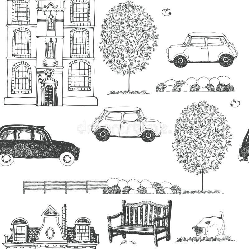 Συρμένο σκίτσο ενός υποβάθρου οδών πόλεων απεικόνιση αποθεμάτων