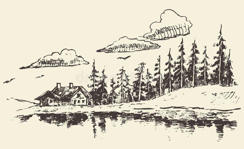 Συρμένο σπίτι σκίτσο ακίνητων περιουσιών λιβαδιών έλατου δασικό ελεύθερη απεικόνιση δικαιώματος