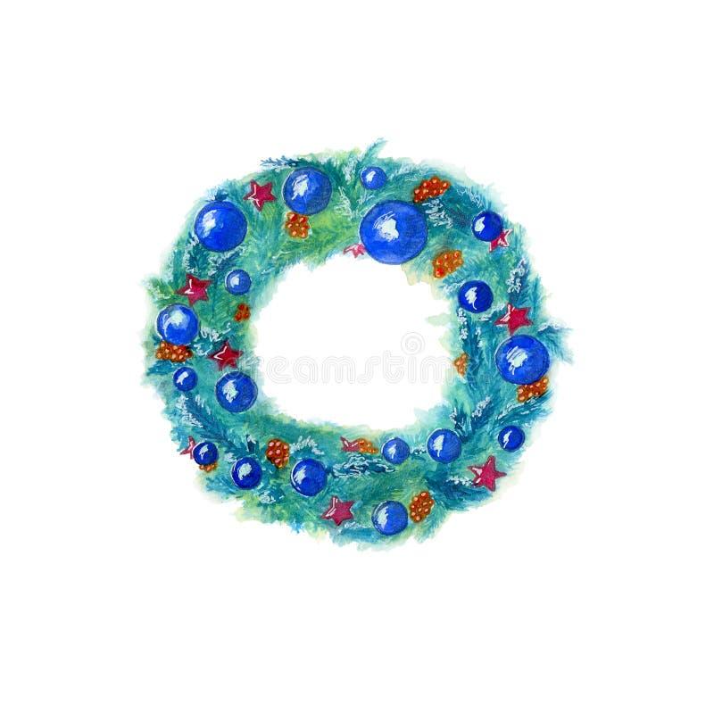 Συρμένο στεφάνι Χριστουγέννων Watercolor χέρι στο μπλε χρώμα με το ντεκόρ που απομονώνεται στο άσπρο υπόβαθρο απεικόνιση αποθεμάτων