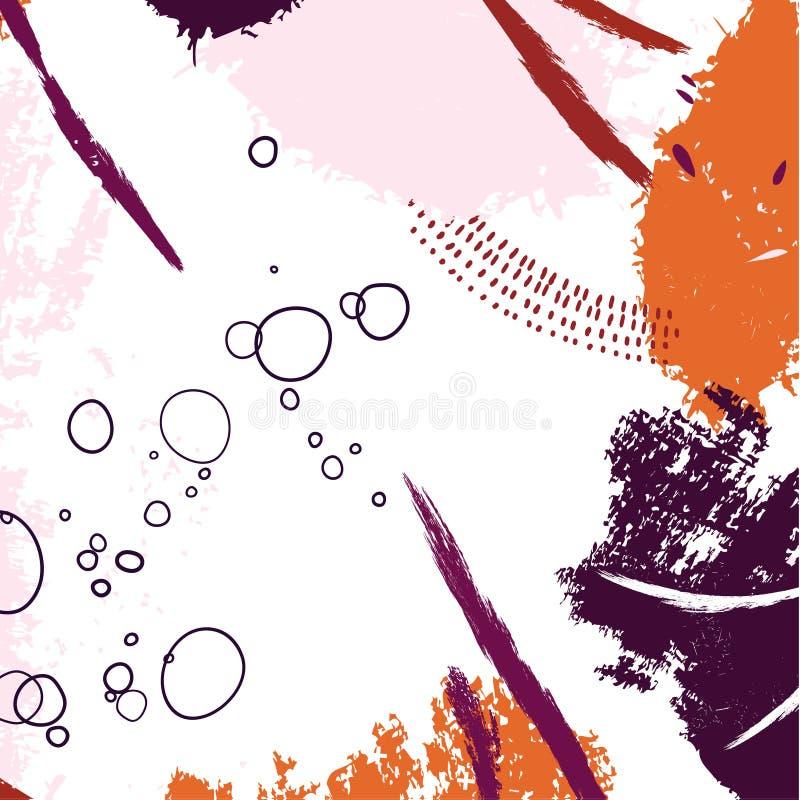 Συρμένο σχέδιο αντίθεσης Brushstroke χέρι Αφηρημένα δημιουργικά πρότυπα, κάρτες, καλύψεις χρώματος καθορισμένες Σχέδιο Boho, υγρά ελεύθερη απεικόνιση δικαιώματος