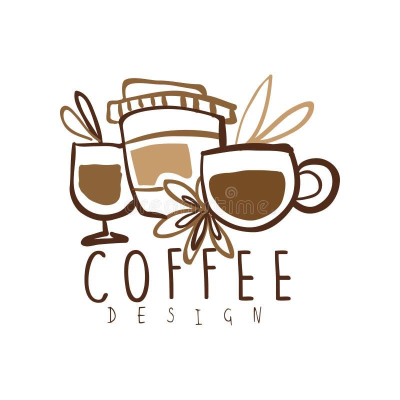 Συρμένο σχέδιο λογότυπων καφέ χέρι με τις κούπες και το φλυτζάνι εγγράφου ελεύθερη απεικόνιση δικαιώματος
