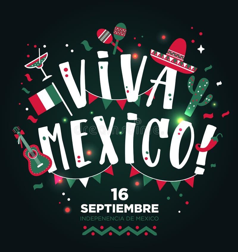 Συρμένο σχέδιο τύπων του Μεξικού Viva χέρι Υπόβαθρο σχεδιαγράμματος εμβλημάτων απεικόνιση αποθεμάτων