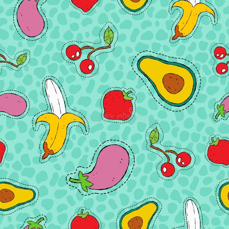 Συρμένο σχέδιο εικονιδίων μπαλωμάτων φρούτων και λαχανικών χέρι διανυσματική απεικόνιση