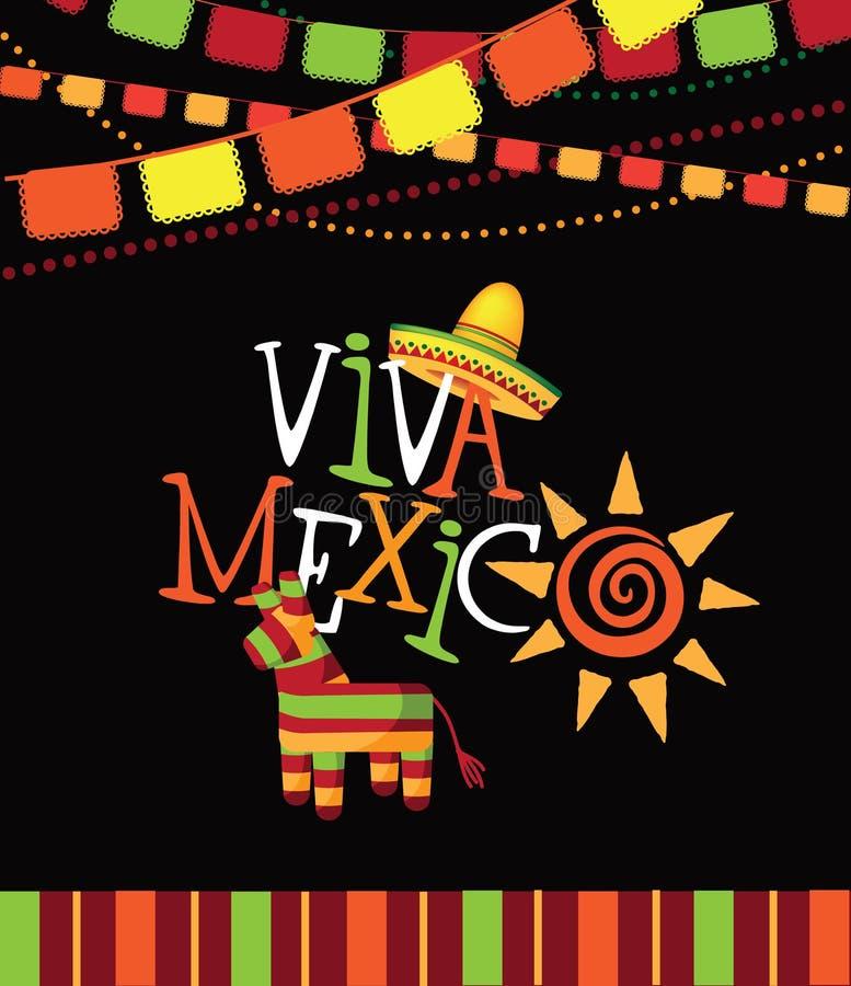 Συρμένο σχέδιο τύπων του Μεξικού Viva χέρι διανυσματική απεικόνιση