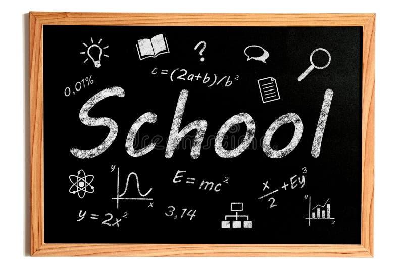 συρμένο σχολείο απεικόνισης χεριών στοιχείων πινάκων κιμωλίας σχέδιο διανυσματική απεικόνιση