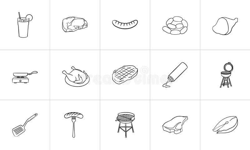 Συρμένο σύνολο εικονιδίων σκίτσων τροφίμων και ποτών χέρι απεικόνιση αποθεμάτων