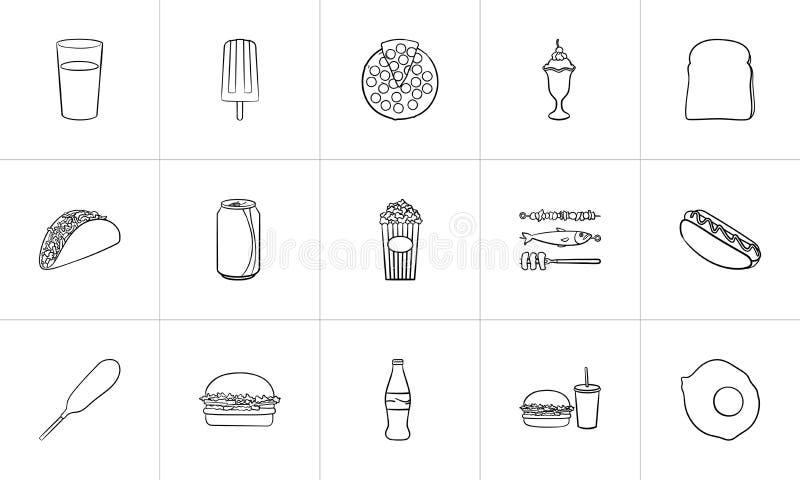 Συρμένο σύνολο εικονιδίων σκίτσων τροφίμων και ποτών χέρι ελεύθερη απεικόνιση δικαιώματος
