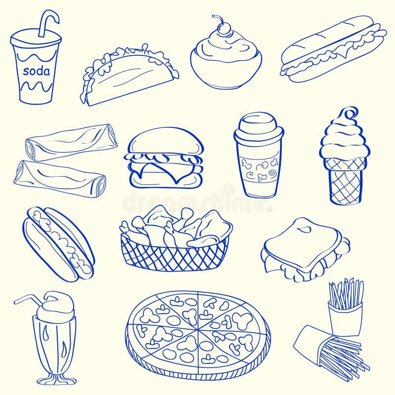 συρμένο σύνολο εικονιδίων χεριών γρήγορου φαγητού διανυσματική απεικόνιση