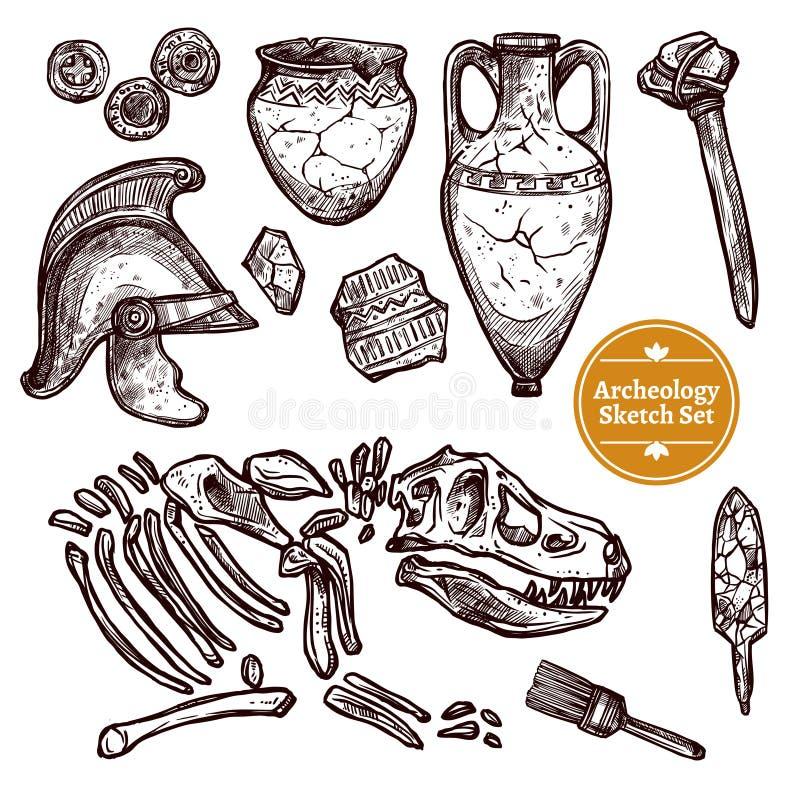 Συρμένο σύνολο σκίτσων αρχαιολογίας χέρι ελεύθερη απεικόνιση δικαιώματος