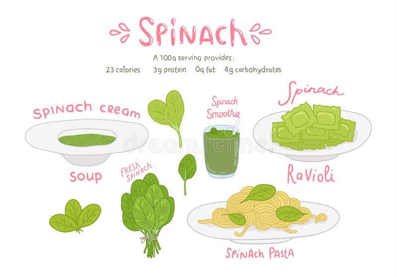 Συρμένο σύνολο τροφίμων σπανακιού κινούμενων σχεδίων χέρι απεικόνιση αποθεμάτων