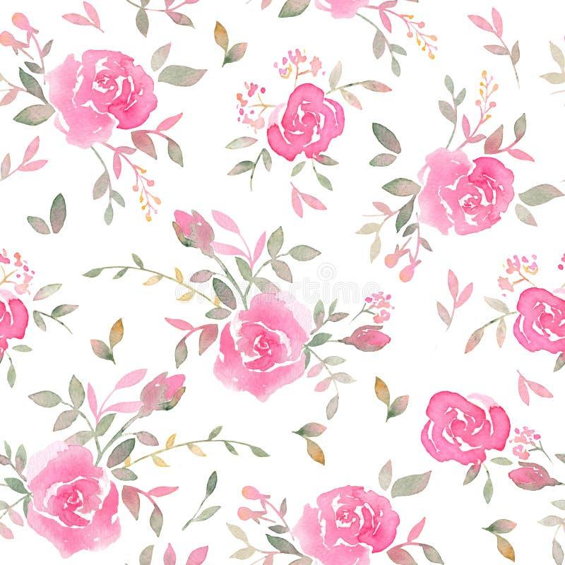 Συρμένο το χέρι άνευ ραφής σχέδιο με το watercolor αυξήθηκε λουλούδια απεικόνιση αποθεμάτων