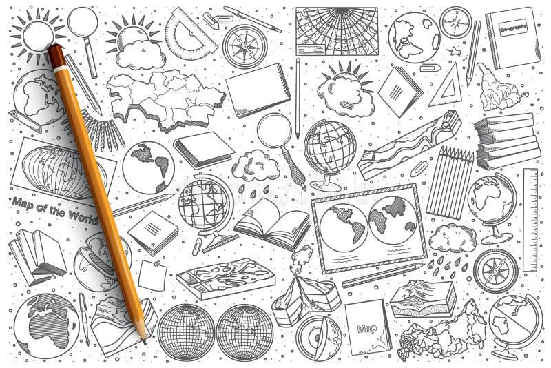 Συρμένο το χέρι διάνυσμα γεωγραφίας doodle έθεσε ελεύθερη απεικόνιση δικαιώματος
