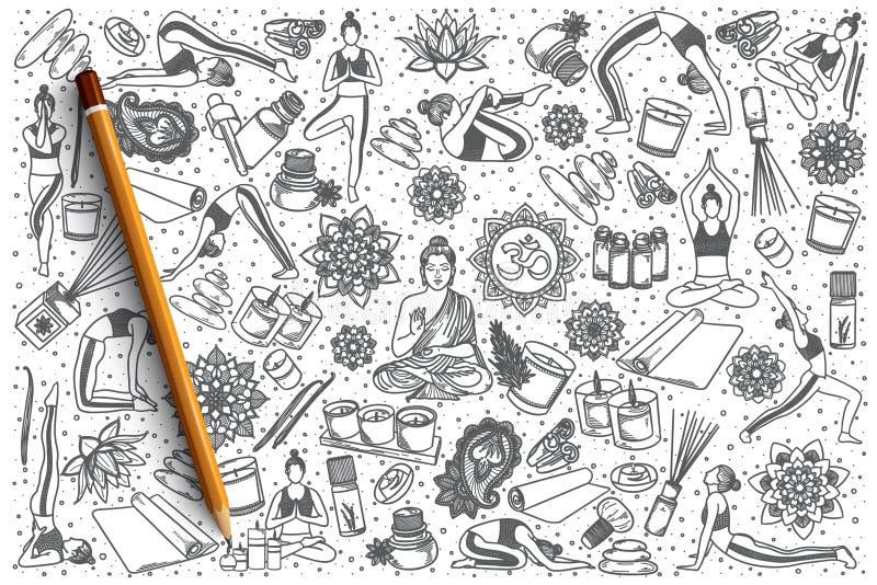 Συρμένο το χέρι διάνυσμα γιόγκας doodle έθεσε ελεύθερη απεικόνιση δικαιώματος