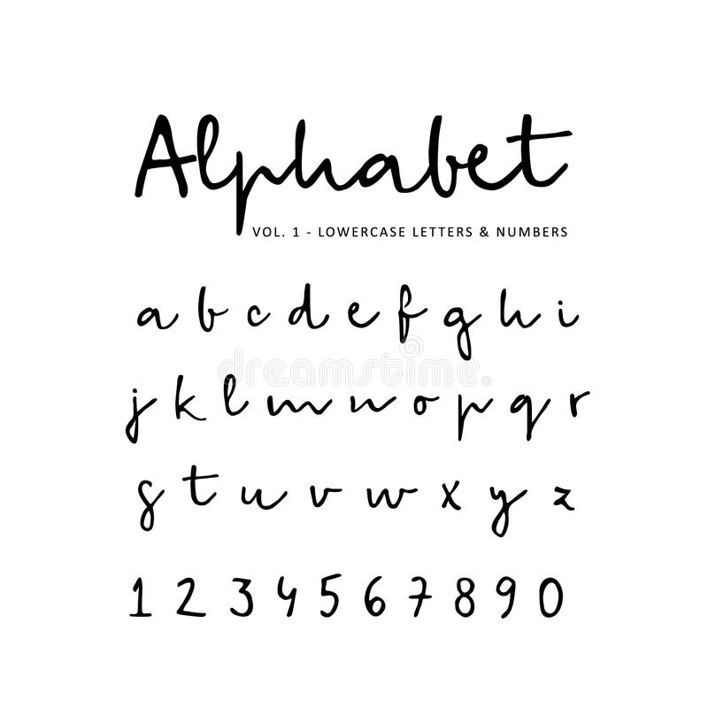Συρμένο το χέρι διανυσματικό αλφάβητο, πηγή, απομόνωσε τις πεζούς επιστολές και τους αριθμούς που γράφτηκαν με το δείκτη ή το μελ ελεύθερη απεικόνιση δικαιώματος
