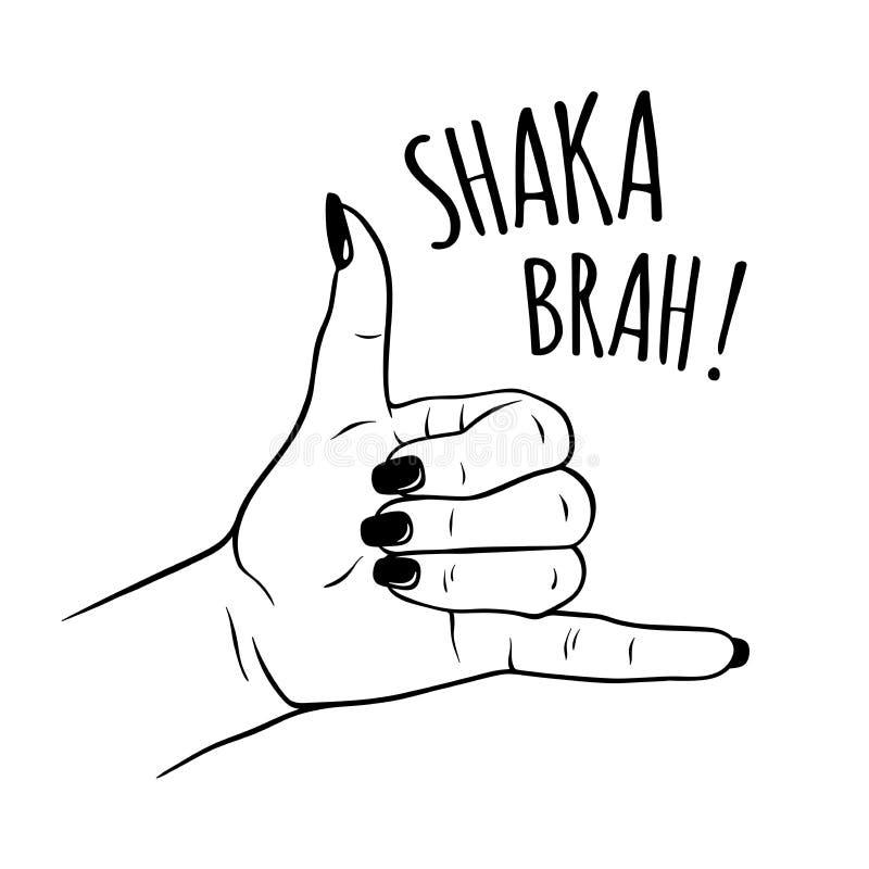 Συρμένο το χέρι θηλυκό παραδίδει τη χειρονομία σημαδιών shaka Η δερματοστιξία, blackwork, η αυτοκόλλητη ετικέττα, το μπάλωμα ή η  απεικόνιση αποθεμάτων