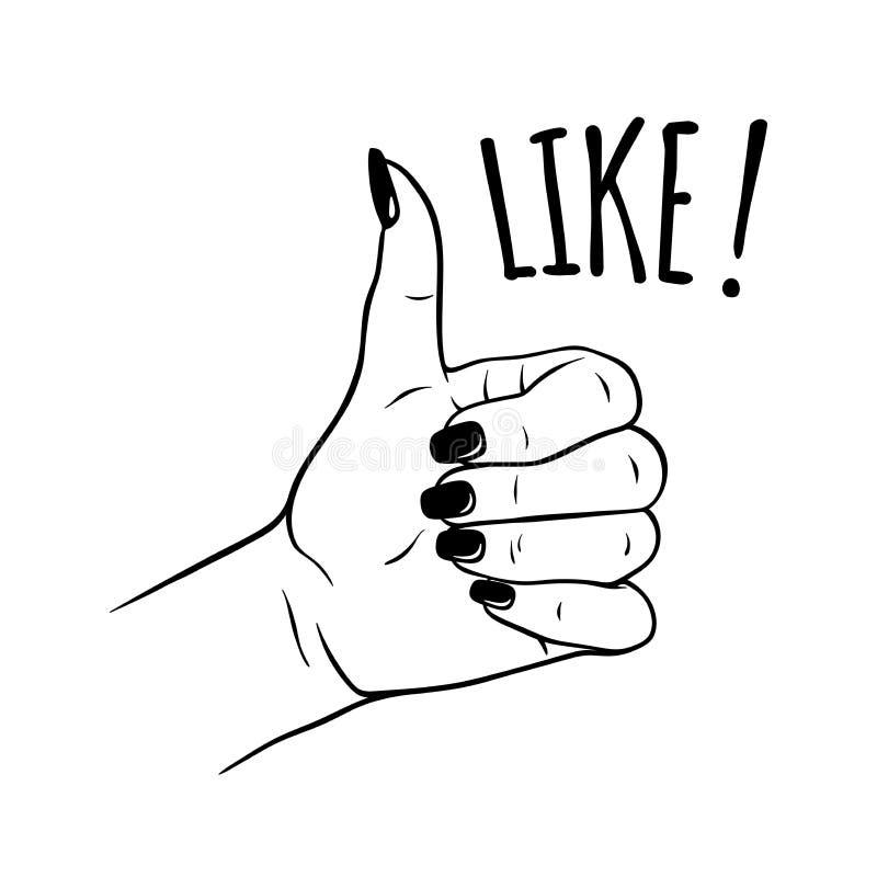 Συρμένο το χέρι θηλυκό παραδίδει όπως τη χειρονομία Η δερματοστιξία, blackwork, η αυτοκόλλητη ετικέττα, το μπάλωμα ή η τυπωμένη ύ απεικόνιση αποθεμάτων