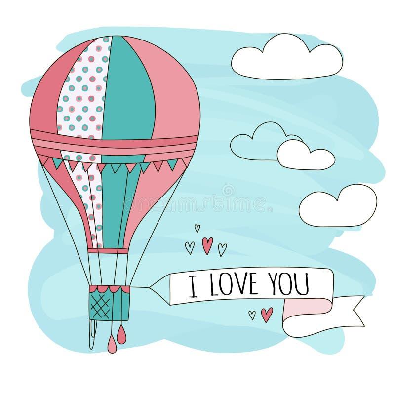 Συρμένο το χέρι διανυσματικό εκλεκτής ποιότητας χαριτωμένο μπαλόνι αέρα στον ουρανό με τα σύννεφα και το σημάδι ι σας αγαπούν Απε ελεύθερη απεικόνιση δικαιώματος