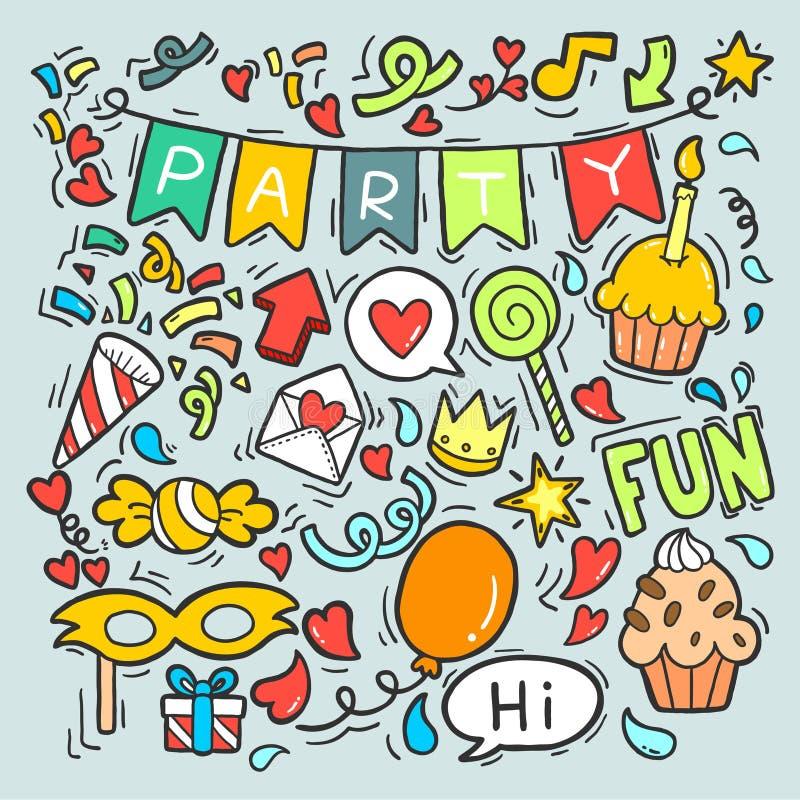 06-19-009 συρμένο το χέρι κόμμα doodle χρόνια πολλά διακοσμεί τη διανυσματική απεικόνιση σχεδίων υποβάθρου διανυσματική απεικόνιση