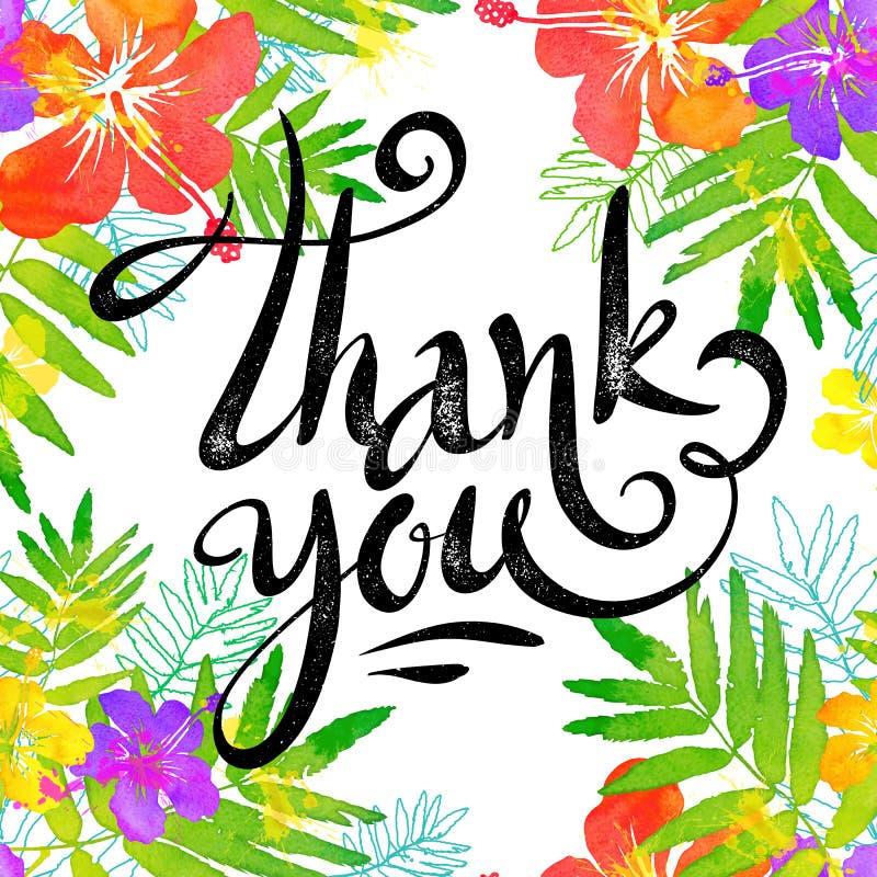 Συρμένο το χέρι σημάδι σας ευχαριστεί στο φωτεινό τροπικό πλαίσιο λουλουδιών στο ύφος watercolor grunge απεικόνιση αποθεμάτων
