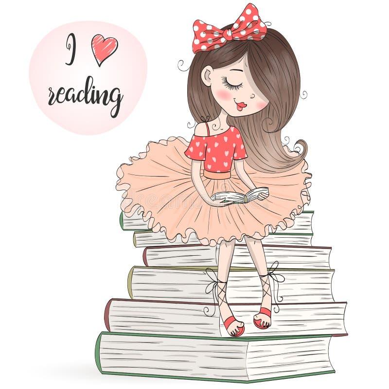Συρμένο το χέρι όμορφο, χαριτωμένο, μικρό κορίτσι κάθεται στα βιβλία και την ανάγνωση απεικόνιση αποθεμάτων