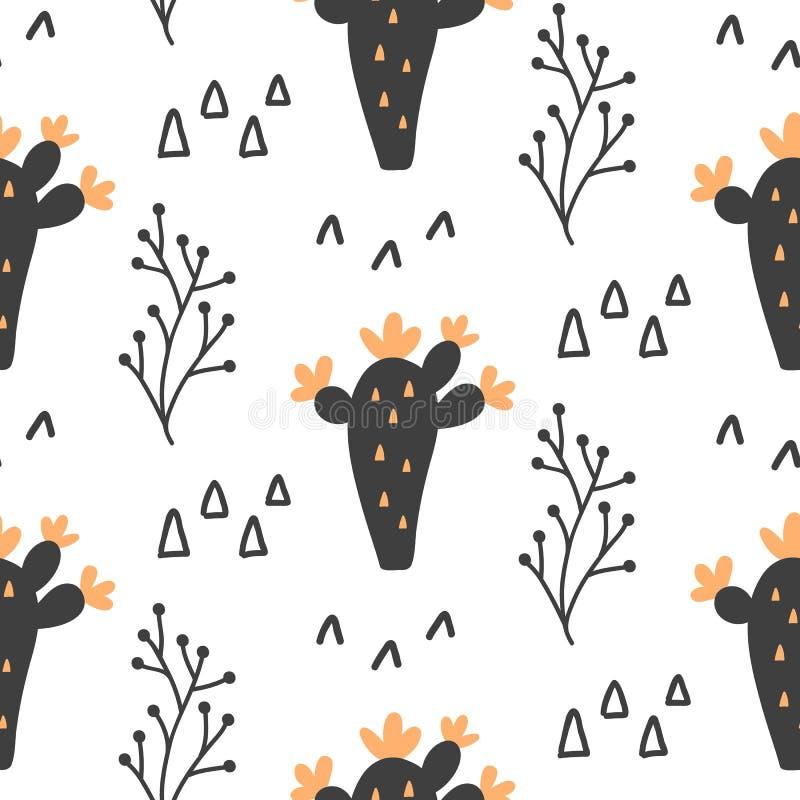 Συρμένο χέρι άγριο άνευ ραφής σχέδιο λουλουδιών κάκτων διανυσματική απεικόνιση