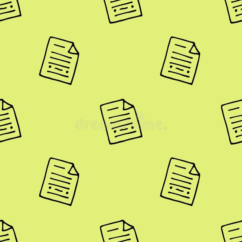 Συρμένο χέρι άνευ ραφής έγγραφο σχεδίων doodle Εικονίδιο ύφους σκίτσων Στοιχείο διακοσμήσεων o : διανυσματική απεικόνιση