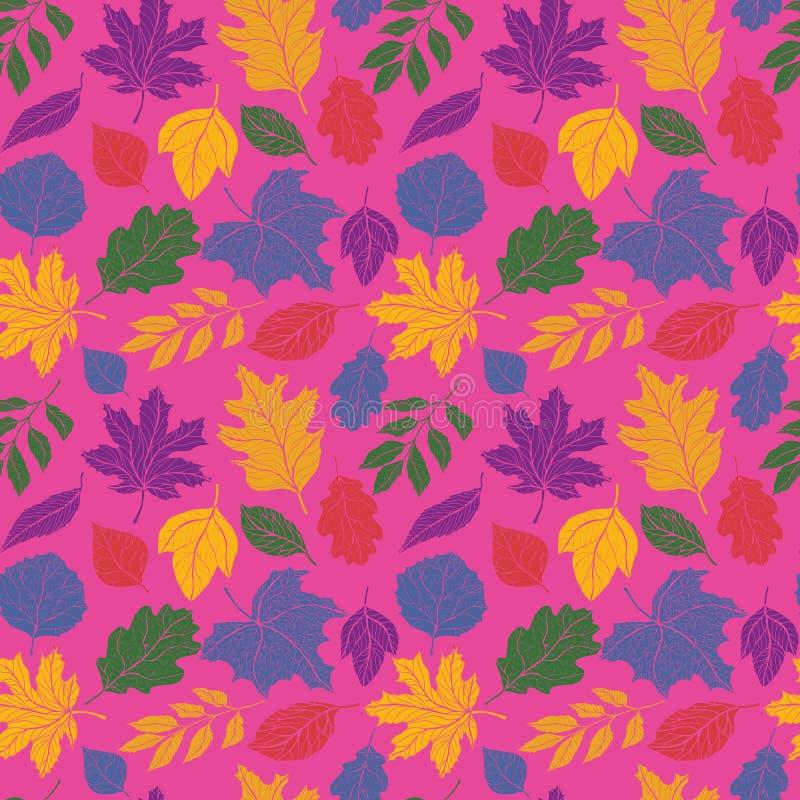 Συρμένο χέρι άνευ ραφής διανυσματικό σχέδιο φύλλων φθινοπώρου με το ρόδινο υπόβαθρο διανυσματική απεικόνιση
