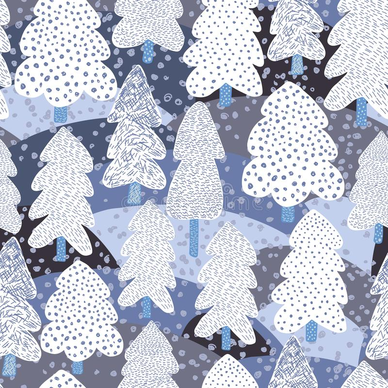 Συρμένο χέρι άνευ ραφής σχέδιο δέντρων χειμερινών πεύκων Δασικό υπόβαθρο Doodle ελεύθερη απεικόνιση δικαιώματος
