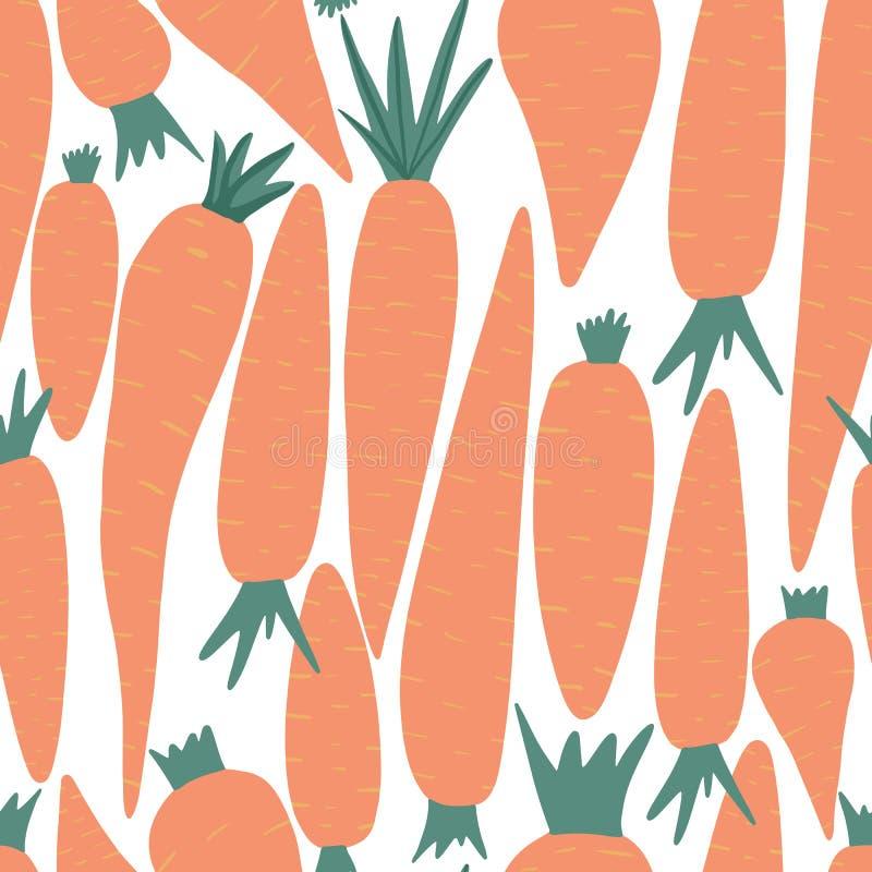 Συρμένο χέρι άνευ ραφής σχέδιο καρότων στο άσπρο υπόβαθρο Ταπετσαρία καρότων Doodle ελεύθερη απεικόνιση δικαιώματος