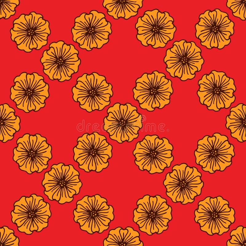Συρμένο χέρι άνευ ραφής σχέδιο λουλουδιών φαντασίας για το ύφασμα, το ύφασμα, την τυπωμένη ύλη, το κλωστοϋφαντουργικό προϊόν, bac ελεύθερη απεικόνιση δικαιώματος