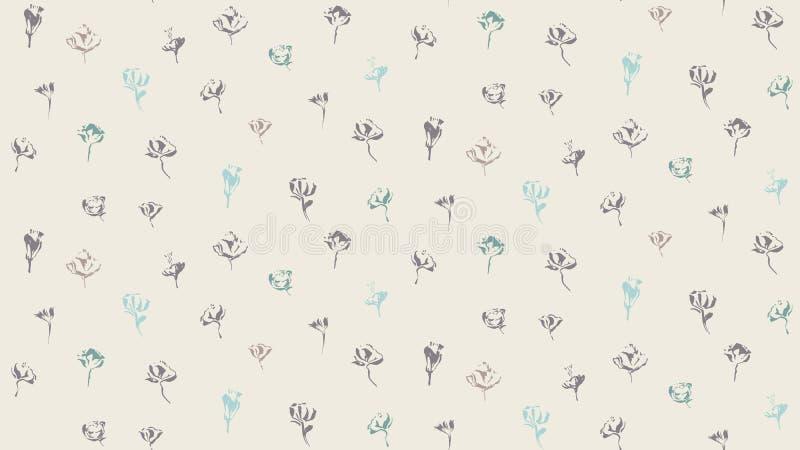 Συρμένο χέρι άνευ ραφής σχέδιο λουλουδιών χρωμάτων βουρτσών το σχέδιο ανασκόπησης floral ιδανικά χρησιμοποιεί το διάνυσμά σας Ατε διανυσματική απεικόνιση