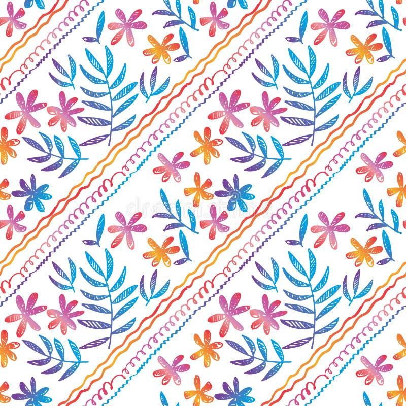 Συρμένο χέρι άνευ ραφής σχέδιο με τα τροπικά λουλούδια διανυσματική απεικόνιση