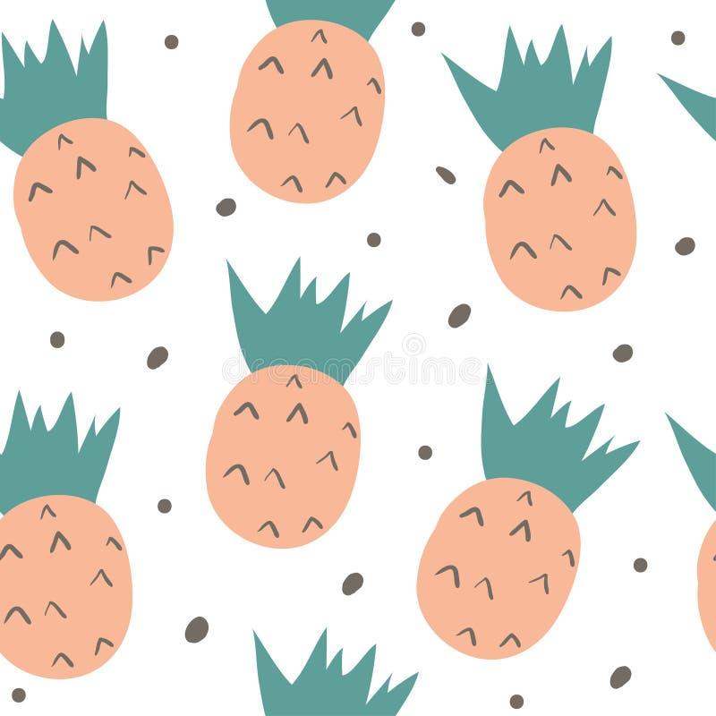 Συρμένο χέρι άνευ ραφής σχέδιο με τα φρούτα doodle διανυσματική απεικόνιση