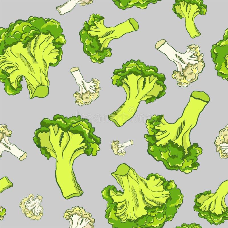 Συρμένο χέρι άνευ ραφής σχέδιο με το μπρόκολο και κουνουπίδι σε ένα γκρίζο υπόβαθρο Διανυσματικό υπόβαθρο λαχανικών ελεύθερη απεικόνιση δικαιώματος