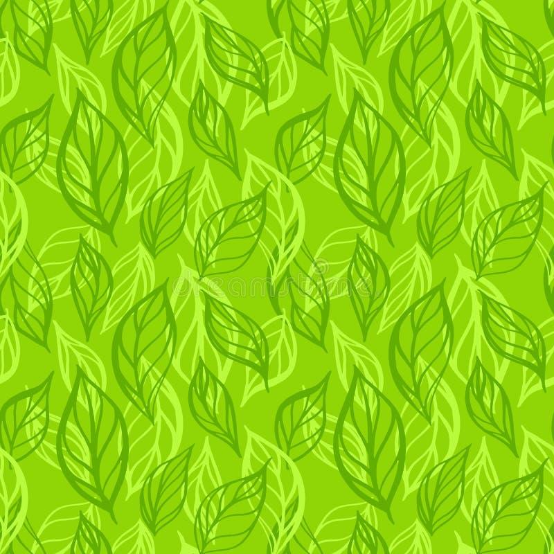 Συρμένο χέρι άνευ ραφής σχέδιο φύλλων Διανυσματική απεικόνιση φύλλων τσαγιού Επαναλαμβανόμενο υπόβαθρο με το βοτανικό μοτίβο διανυσματική απεικόνιση