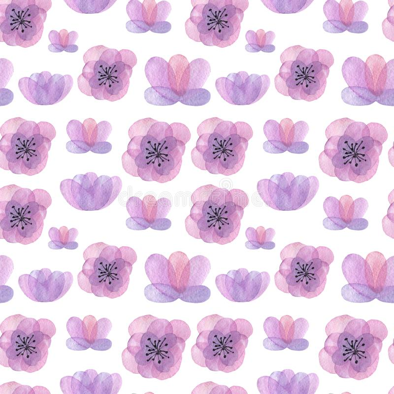 Συρμένο χέρι άνευ ραφής σχέδιο Watercolor με τα λουλούδια απεικόνιση αποθεμάτων