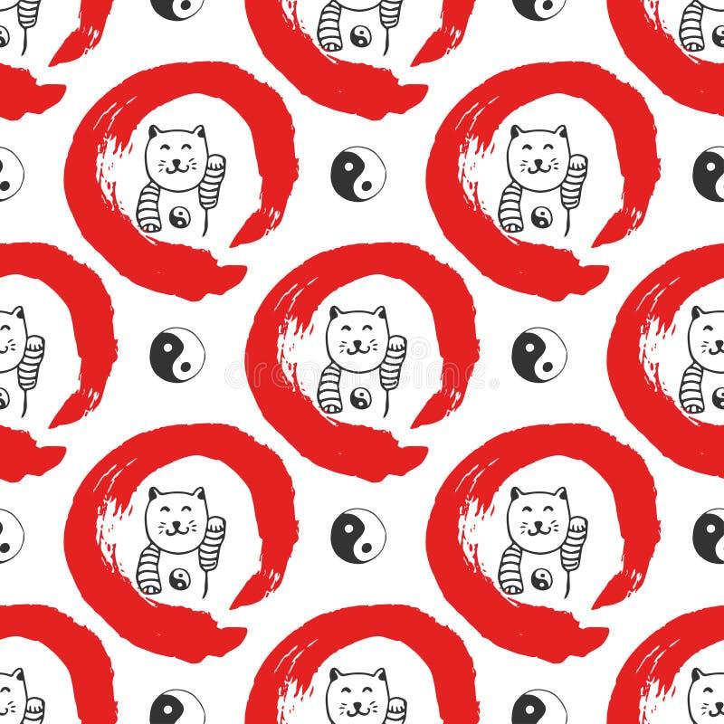 Συρμένο χέρι άνευ ραφής σχέδιο με τις γάτες maneki-neko τύχης της Ιαπωνίας Υπόβαθρο Yin yang για το σχέδιο Κόκκινος κύκλος zen ha απεικόνιση αποθεμάτων