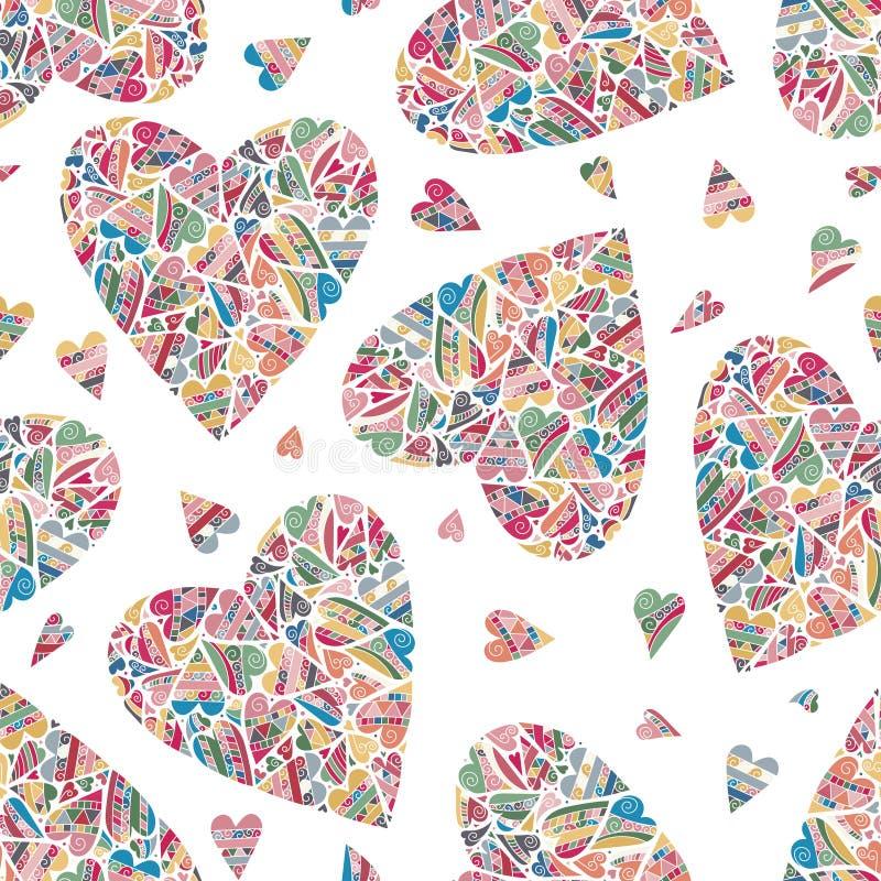 Συρμένο χέρι άνευ ραφής σχέδιο με τις καρδιές απεικόνιση αποθεμάτων