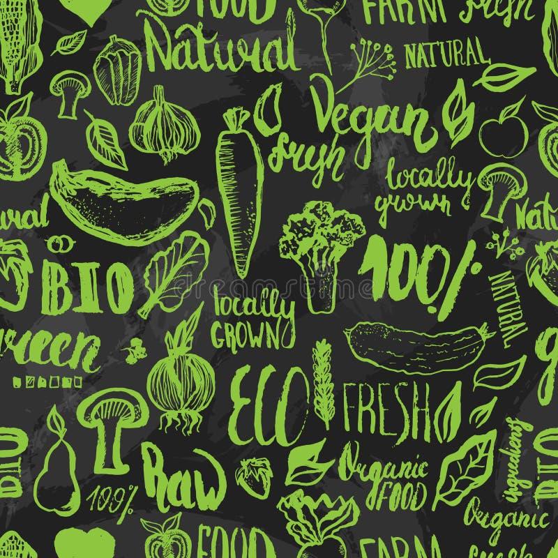 Συρμένο χέρι άνευ ραφής σχέδιο τροφίμων eco με την εγγραφή για οργανικό, βιο, φυσικός, vegan, τρόφιμα στο σκοτεινό υπόβαθρο διανυσματική απεικόνιση