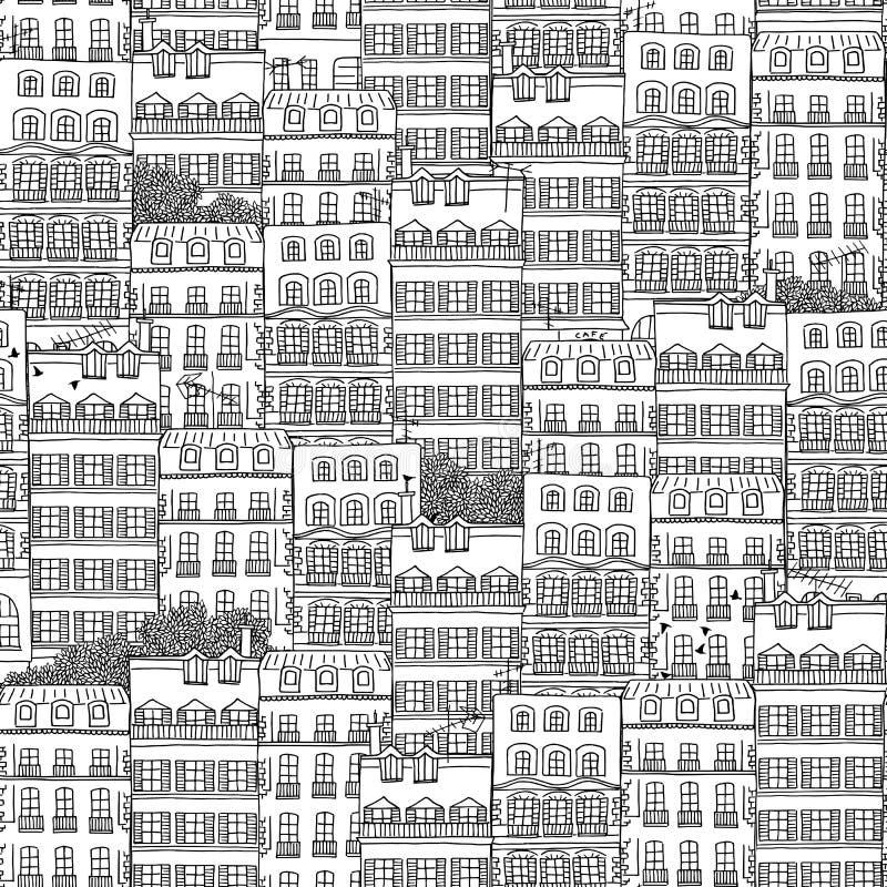 Συρμένο χέρι άνευ ραφής σχέδιο των γαλλικών σπιτιών ύφους διανυσματική απεικόνιση