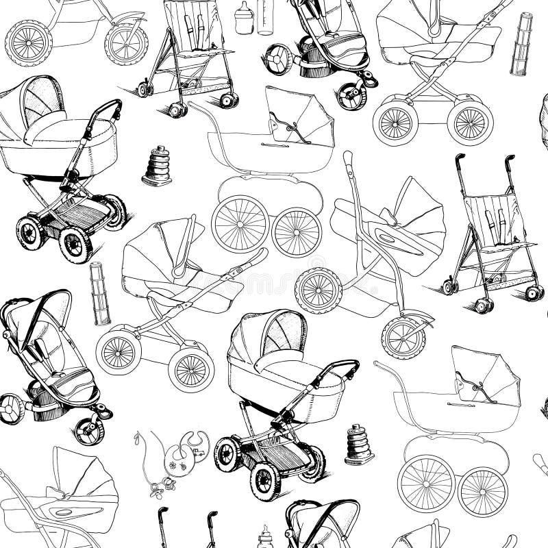 Συρμένο χέρι άνευ ραφής σχέδιο των καροτσακιών μωρών, μεταφορές και strolle απεικόνιση αποθεμάτων