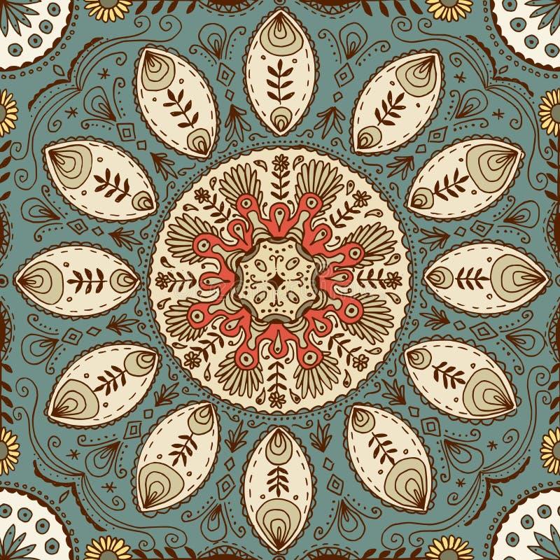 Συρμένο χέρι άνευ ραφής σχέδιο mandala διανυσματική απεικόνιση
