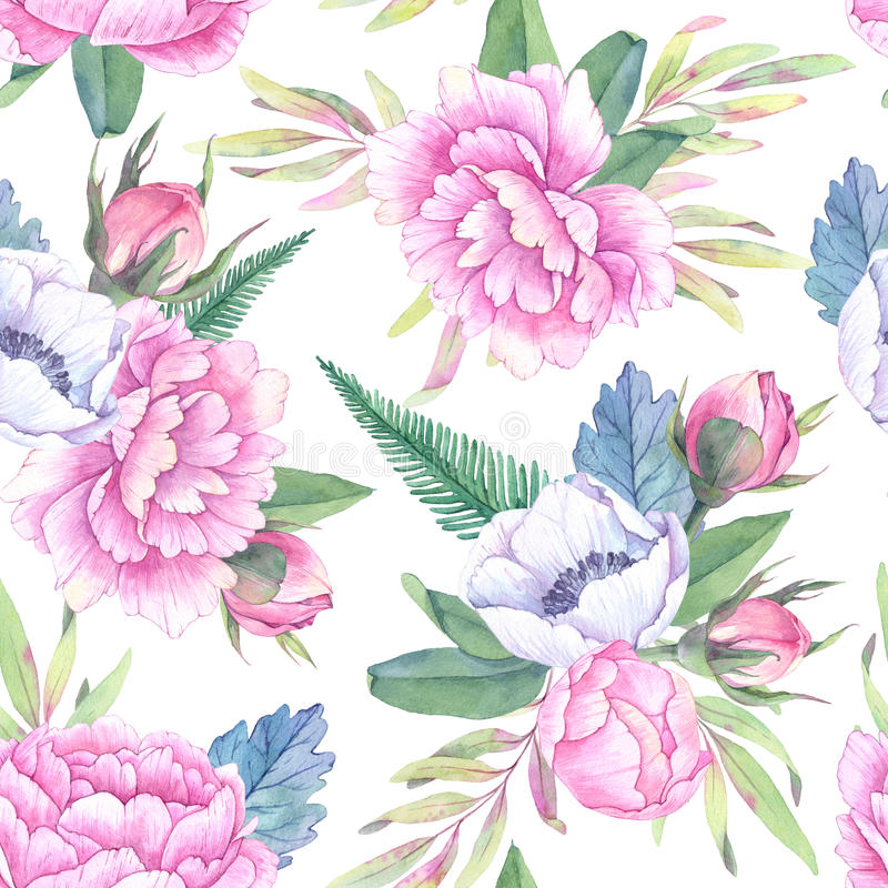 Συρμένο χέρι άνευ ραφής σχέδιο watercolor Φύλλα άνοιξη, κλάδοι διανυσματική απεικόνιση